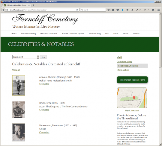 Ferncliff Cemetery Web-sie screen capture - Notables